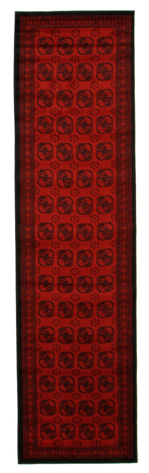 Classic Afghan Design Rug Red Runner - Floorsome