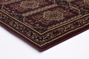 Traditional Afghan Design Rug Burgundy Red - Floorsome