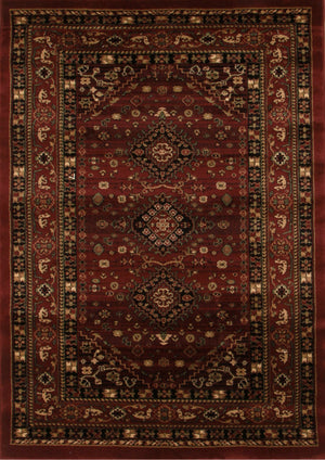 Traditional Shiraz Design Rug Burgundy Red - Floorsome
