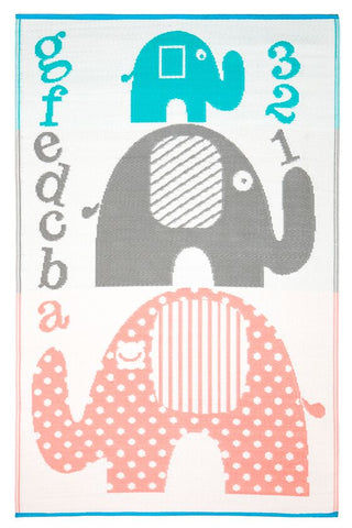 Little Portico's JS Elephant Pink, Blue and Grey Kids Mat