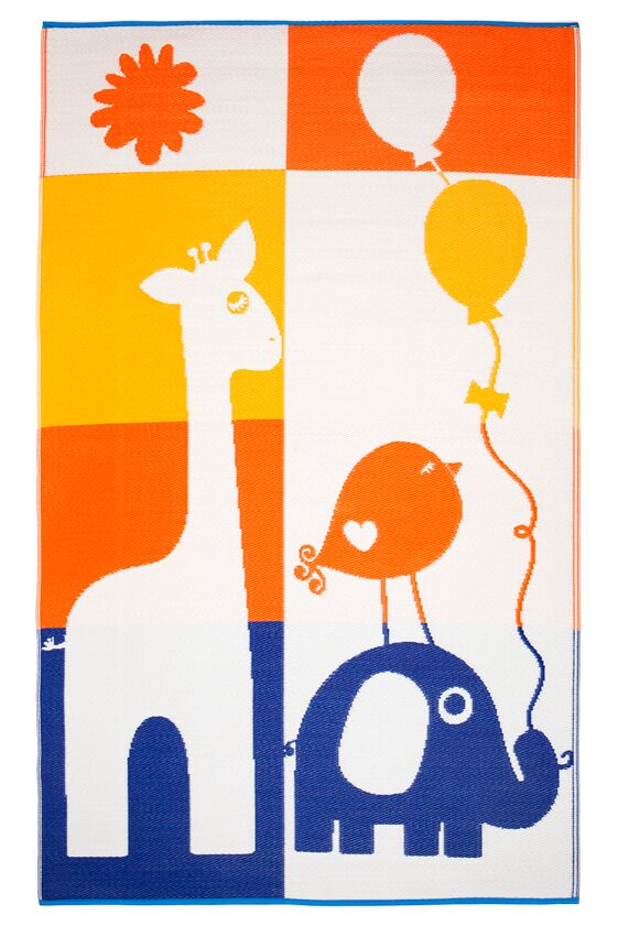 Little Portico's JS Giraffe and Elephant Yellow, Orange & Blue Kids Mat