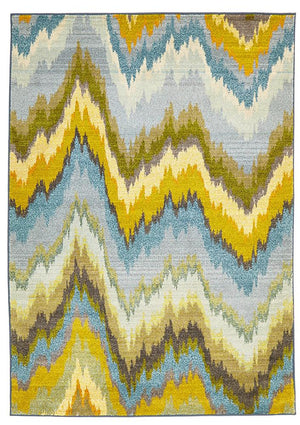 Designer Ikat Rug Blue - Floorsome