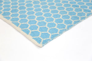 Illusion Blue Natural Cotton Rug