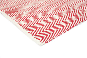 Illusion Red Natural Cotton Rug