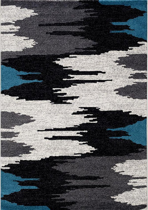 Canyon Grey and Blue Abstract Rug