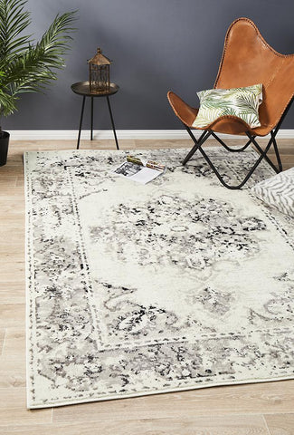 Metro 602 Transitional Rug White Grey Black