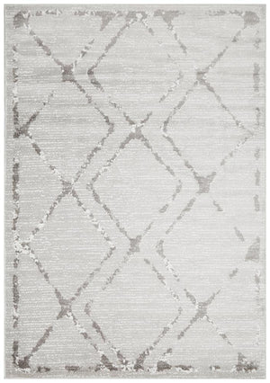 Metro 606 Contemporary Diamond Rug Silver Grey