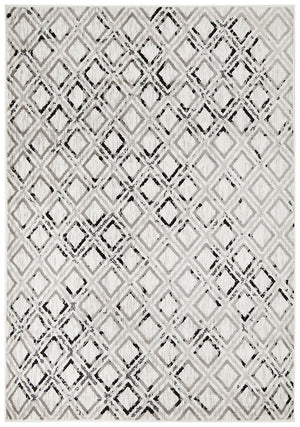 Metro 607 Modern Rug White Black Grey