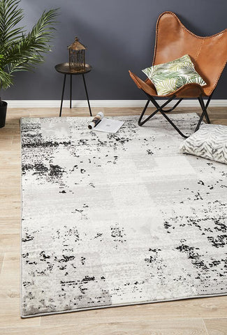 Metro 611 Modern Distressed Rug Grey Black Silver