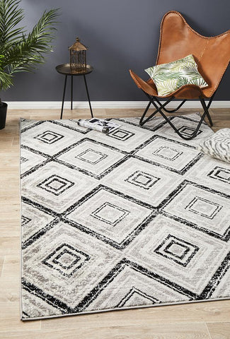 Metro 616 Geo Diamonds Rug Grey Black