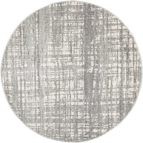 Ashley Abstract Modern Silver Grey Round Rug - Floorsome