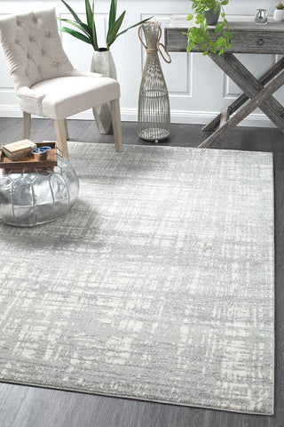 Ashley Abstract Modern Silver Grey Rug - Floorsome