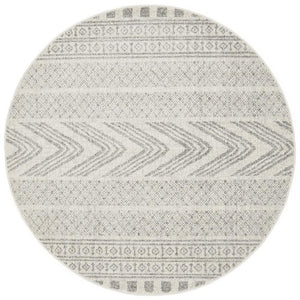 Adani  Modern Tribal Design Grey Round Rug - Floorsome