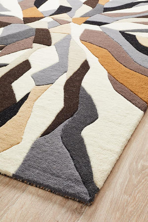 Crossroads Designer Wool Rug Brown White Grey - Floorsome