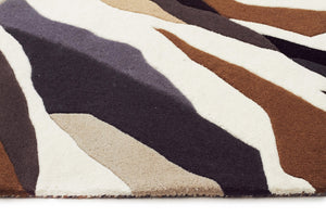 Crossroads Designer Wool Runner Rug Brown White Grey - Floorsome