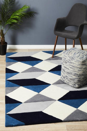 Digital Designer Wool Rug Blue Grey White - Floorsome