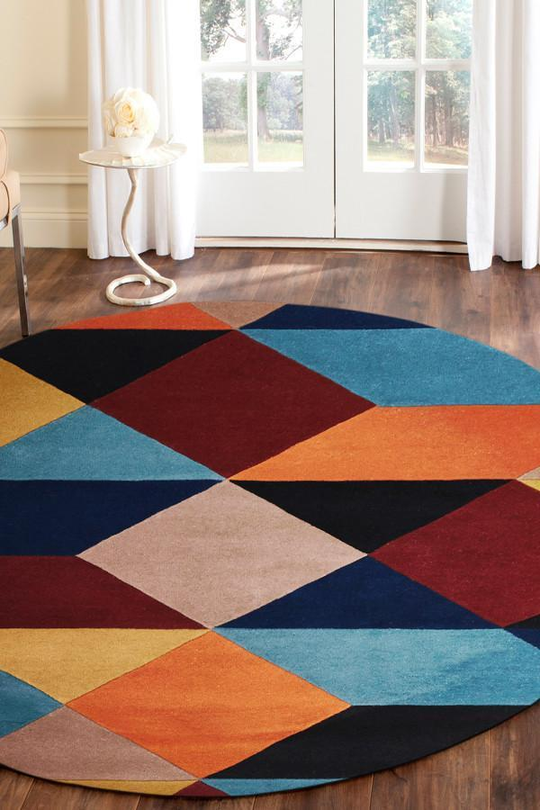 Sandy Designer Wool Round Rug Rust Blue Navy