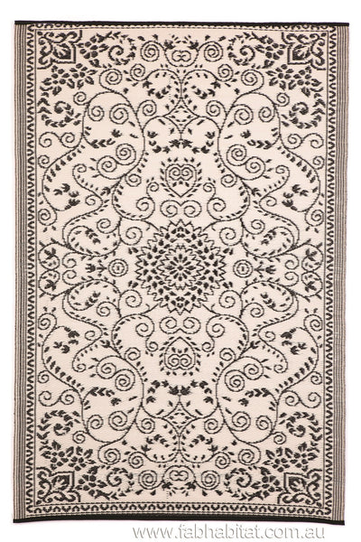 Outdoor Rug Recycled Plastic Murano Black And Cream