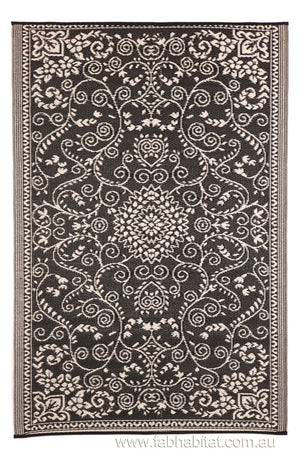 Murano Recycled Plastic Outdoor Rug Black and White - Floorsome