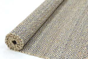 Oslo Navy Jute Diamonds Flat Weave Rug