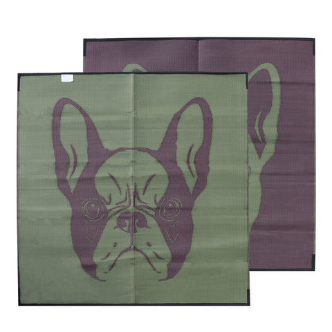 BREWSTER FRENCH BULLDOG Recycled Plastic Mat, Khaki & Maroon 1.8x1.8m - Floorsome