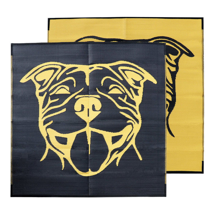 TOBY STAFFY Recycled Plastic Mat, Yellow & Black 1.8x1.8m