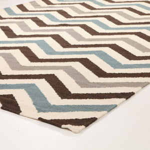 Flat Weave Chevron Design Rug Blue Brown - Floorsome