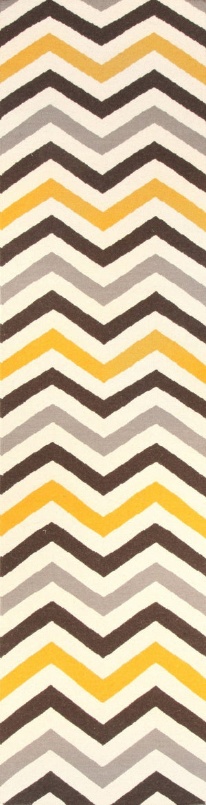 Flat Weave Design Rug Yellow Brown - Floorsome