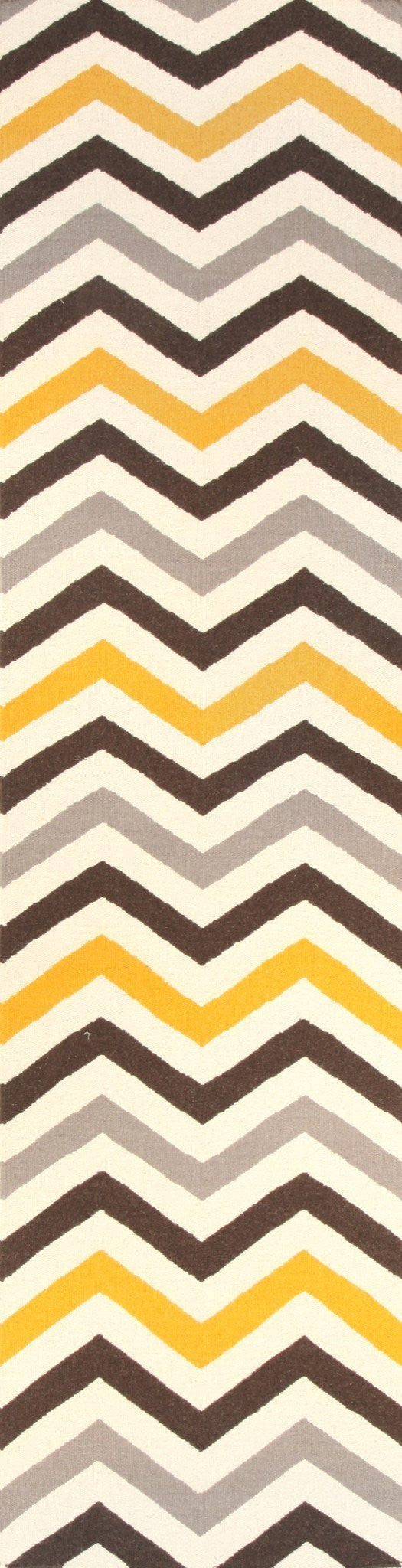 Flat Weave Design Rug Yellow Brown Runner