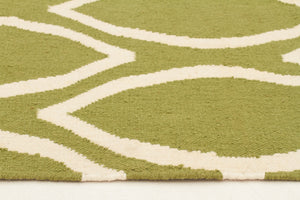 Flat Weave Oval Print Rug Green - Floorsome