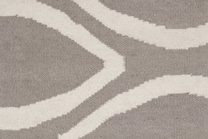 Flat Weave Oval Print Rug Grey - Floorsome