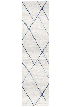 Oasis 452 White Blue Contemporary Runner Rug