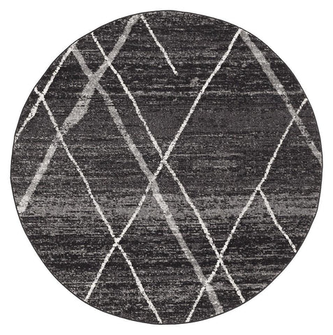 Oasis 452 Charcoal Contemporary Round Rug