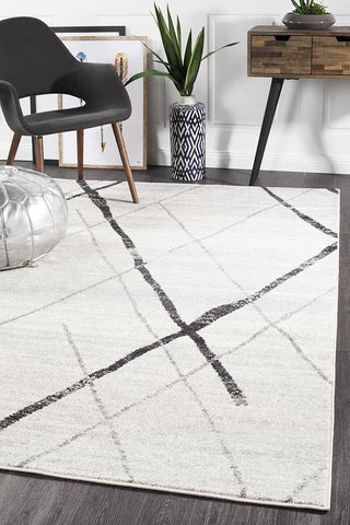 Oasis 452 White Grey Contemporary Rug