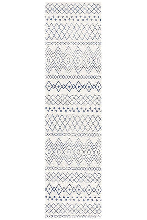 Oasis 453 White Blue Rustic Tribal Runner Rug