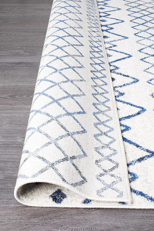Oasis 453 White Blue Rustic Tribal Rug