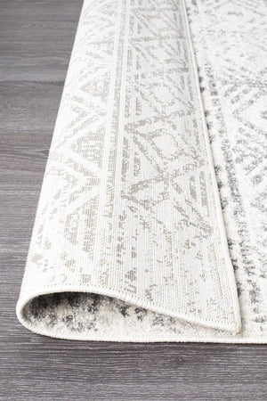 Oasis 456 White Grey Rustic Runner Rug