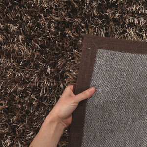 Metallic Thick, Thin Shag Rug Dark Brown - Floorsome