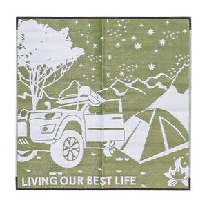 OFF THE BEATEN TRACK Recycled Plastic Mat, Khaki & Grey 1.8x1.8m
