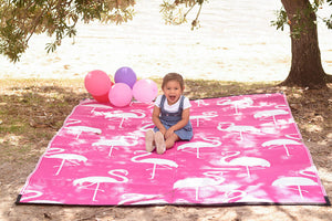 PINK FLAMINGO Recycled Plastic Mat, Hot Pink & White 1.8x2.7m