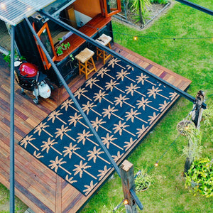 PALM SPRINGS Recycled Outdoor Rug, Midnight & Gold 2.4x4m