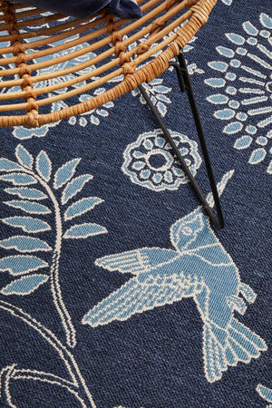Seaside Birds Navy Indoor Outdoor Rug