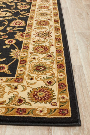 Classic Rug Black with Ivory Border - Floorsome