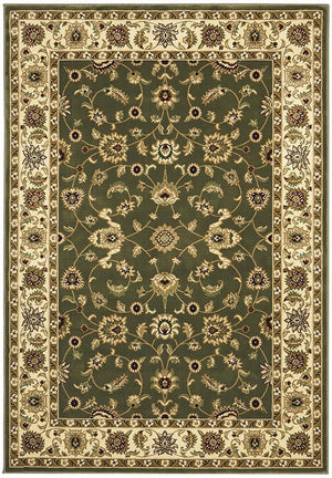 Classic Rug Green with Ivory Border - Floorsome