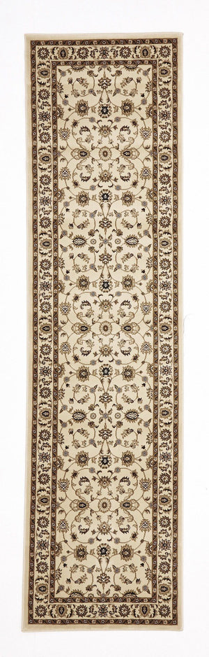 Classic Runner Rug Ivory with Ivory Border - Floorsome