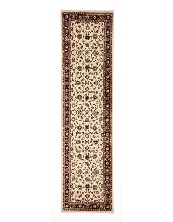 Classic Rug Ivory with Red Border Runner