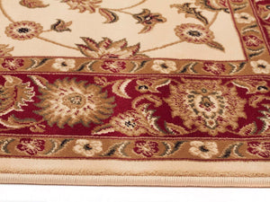Classic Rug Ivory with Red Border Runner - Floorsome