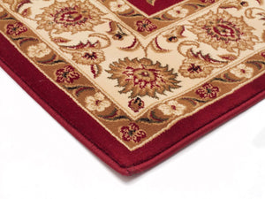 Classic Rug Red with Ivory Border Runner - Floorsome