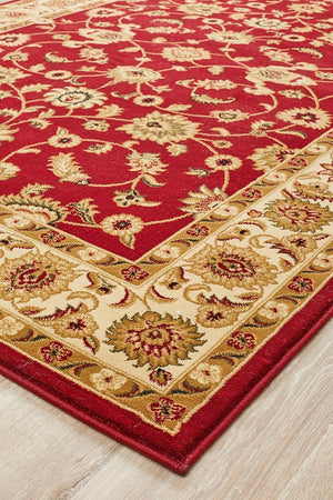 Classic Rug Red with Ivory Border - Floorsome