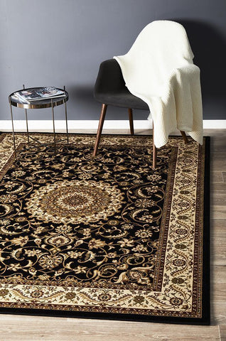 Medallion Rug Black with Ivory Border - Floorsome